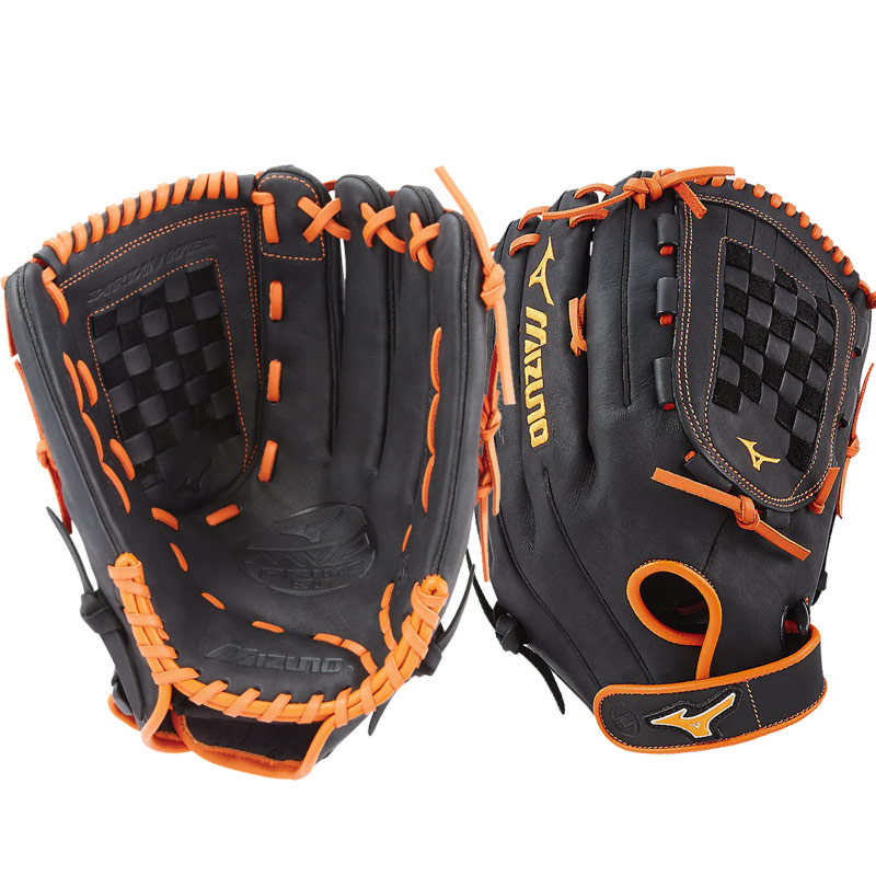 "Mizuno MVP Prime SE Slowpitch Softball Glove 14"" Black/Orange GMVP1400PSES6 312531"