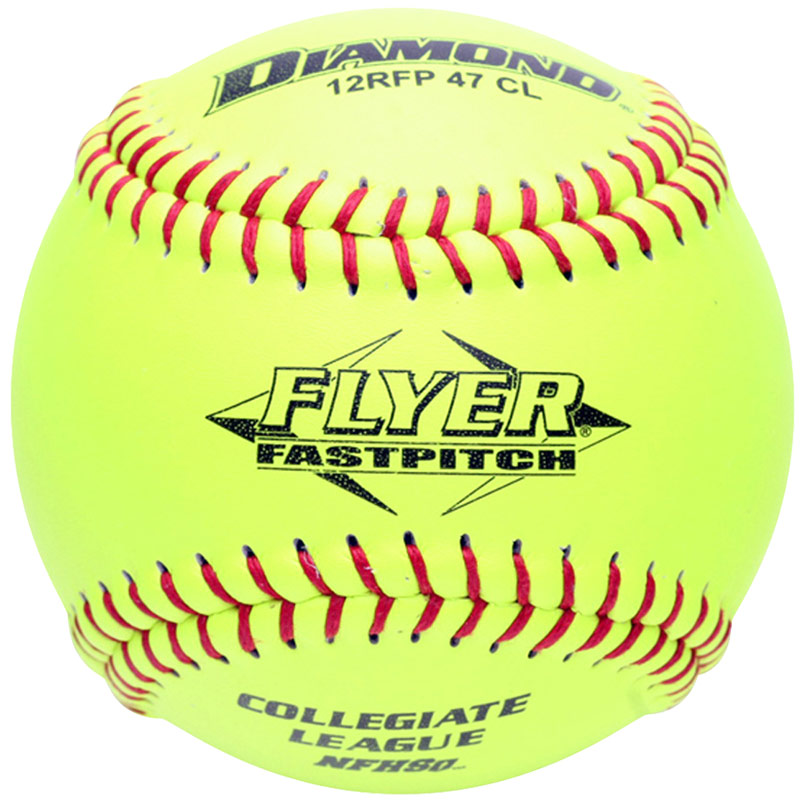 Diamond Flyer Fastpitch Softball Red Stitch Collegiate/NFHS .47 COR (6 Dozen)