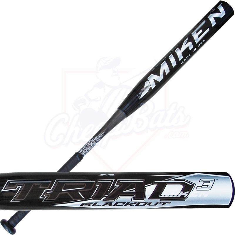 2015 Miken TRIAD 3 BLACKOUT Senior Softball Bat SSUSA Slowpitch SSBTRI