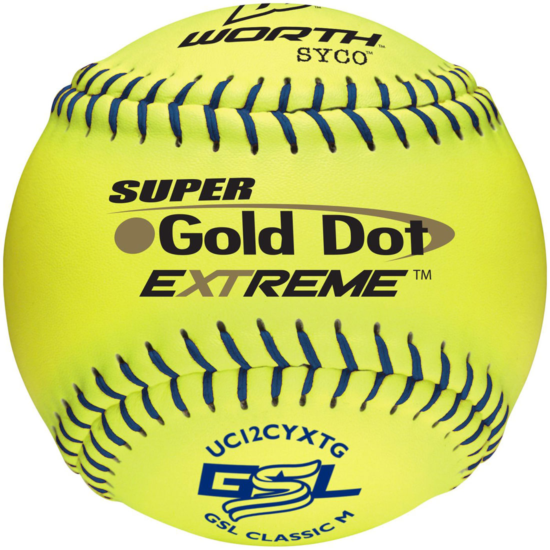 "Worth 12"" GSL Super Gold Dot Extreme Slowpitch Softball (1 Dozen) UC12CYXTG"
