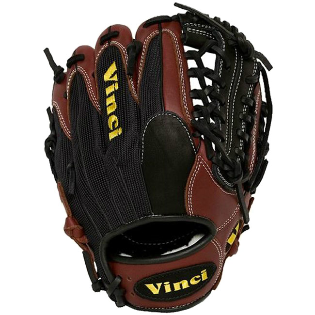 "Vinci AB-M Bordeaux with Black Mesh Baseball Glove 12.5"" Net-T Web"