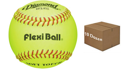 Diamond DFX-9YL Flexi Ball/Soft Touch Batting Practice Baseball 10 Dozen