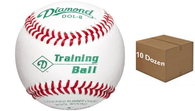 "Diamond DOL-8 Training Ball 8"" Baseball 10 Dozen"