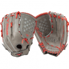 "CLOSEOUT Mizuno MVP Prime SE Slowpitch Softball Glove 14"" Smoke/Red GMVP1400PSES5 312479"