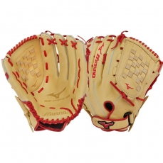 "CLOSEOUT Mizuno MVP Prime SE Slowpitch Softball Glove 14"" Tan/Red GMVP1400PSES7 312648"