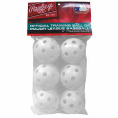 Rawlings Plastic Training Baseballs 9inch White ROPT9PK6 6-Pack