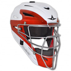 CLOSEOUT All Star White Two Tone Catchers Helmet MVP2510WTT - Youth