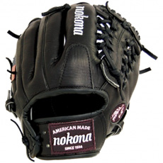 Nokona Bloodline Black Baseball Glove AMG1150-BL-MT (BL-1150M-BLK) 11.5""