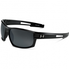 Under Armour CAPTAIN Sunglasses Shiny Black/Black with Polar Lens