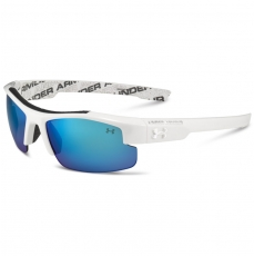 Under Armour Kids NITRO L Sunglasses Shiny White/Charcoal with Blue Lens